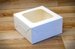 Коробка для печива з віконцем 140х140х70 мм крейдований картон