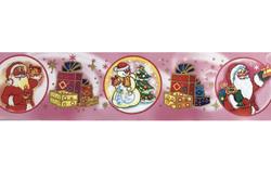 Бордюрна стрічка з малюнком, ширина 6 см, довжина 1 м (Дід Мороз рожева)
