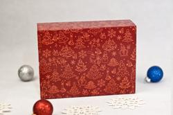 Коробка для макаронс 115х155х50 мм Новий рік червона (на 12 шт)