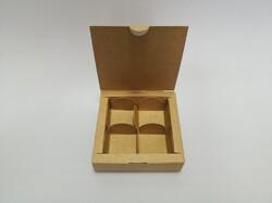 Коробка для цукерок 112х112х30 на 4 штуки крафт