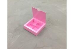 Коробка для конфет 112х112х30 на 4 штуки розовая