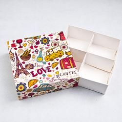 Универсальна коробка PARIS 160х160х55 мм для печенья, зефира, конфет, макаронсов и прочего, тип пенал с ложементом