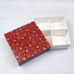 Универсальна коробка Медвежата 160х160х55 мм для печенья, зефира, конфет, макаронсов и прочего, тип пенал с ложементом