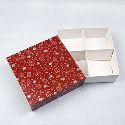 Універсальна коробка Ведмежата 160х160х55 мм для печива, зефіру, цукерок, макаронс та іншого, тип пенал з ложементом