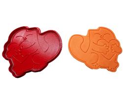 Вырубка для пряника со штампом Кот с сердцем