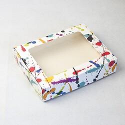 Коробка для печива, пряників з віконцем 192х148х40 мм Клякса