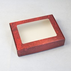 Коробка для печенья,пряников с окошком 192х148х40 мм Красная потертая