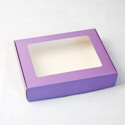 Коробка для печива, пряників з віконцем 192х148х40 мм Фіолетова