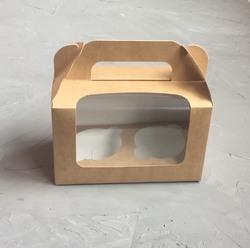 Коробка на 2 кекса 175х105х80 с ручкой крафт