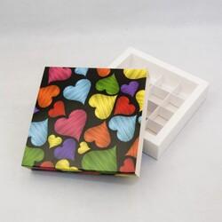 Коробка для цукерок 185х185х42 на 16 штук №10 Серця