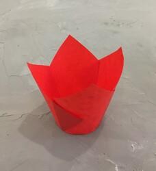 """Форма паперова для кексів """"Тюльпан"""" червоний, 50 * 80 мм 25 шт"""