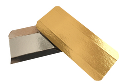 Подложка прямоугольная с бигом под эклеры 7х16 см золото/серебро