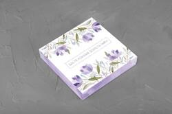 Коробка для конфет 185х185х42 на 16 штук Весенняя фиолетовая