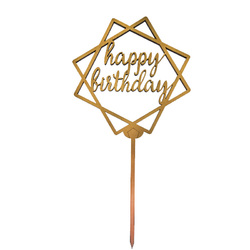 Топпер Happy Birthday золотой 13,5х13,5 см