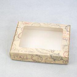 Коробка для печива, пряників з віконцем 192х148х40 мм Печатки
