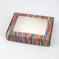 Коробка для печенья,пряников с окошком 192х148х40 мм Волны