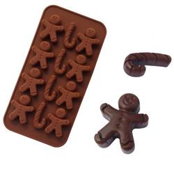 Форма силиконовая для конфет, льда НГ №6 (пряничный человечек) на планшетке