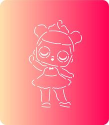Трафарет + вырубка Кукла Лол № 9