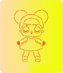 Трафарет + вирубка Лялька Лол № 6