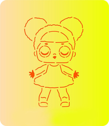 Трафарет + вырубка Кукла Лол № 6