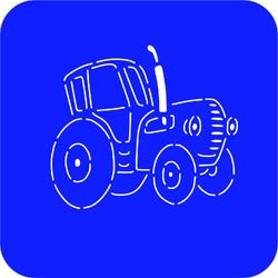 Трафарет + вирубка Синій Трактор