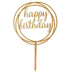 Топпер Happy Birthday золотий круг 12см