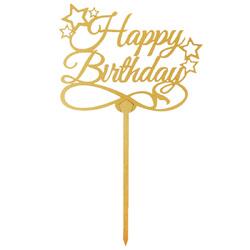 Топпер Happy Birthday золотой звездочки 12,5х10 см