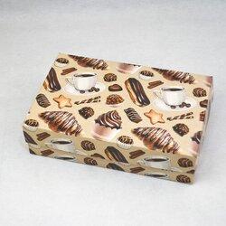 Коробка для еклеров, зефира, печенья и прочих десертов 230*150*60 мм Сладкий фон