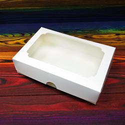 Коробка для эклеров 230*150*60 мм с окном белая №2