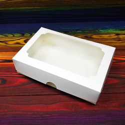 Коробка для еклерів 230 * 150 * 60 мм з вікном біла №2