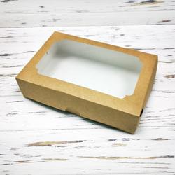 Коробка для еклерів 230 * 150 * 60 мм з вікном крафт №2