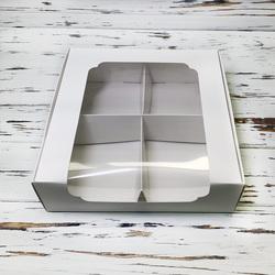 Коробка для десертів 200 * 200 * 60 мм з вікном біла