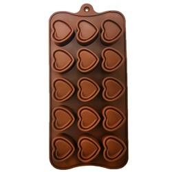 Форма силиконовая для конфет, льда Сердце №3 на планшетке.