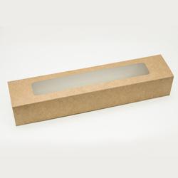 Коробка для макаронс Крафт з вікном 303х60х50 мм