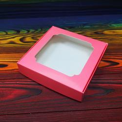 Коробка для сладостей с окошком 150х150х30 мм кораловая