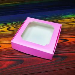 Коробка для сладостей с окошком 150х150х30 мм пыльная роза