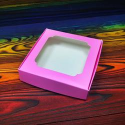 Коробка для сладостей с окошком 150х150х30 мм розовая
