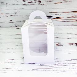 Коробка на 1 кекс 82х82х100 с ручкой белая
