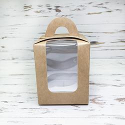 Коробка на 1 кекс 82х82х100 с ручкой крафт