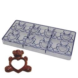 Полікарбонатна форма для цукерок Ведмедик з серцем 8 шт.