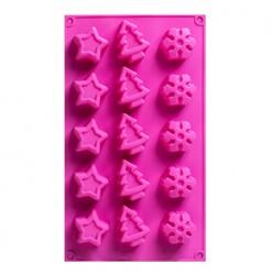 Форма силиконовая на планшетке НГ(елка, звездочка, снежинка)