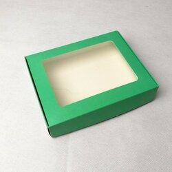 Коробка для печива, пряників з віконцем 192х148х40 мм Зелена