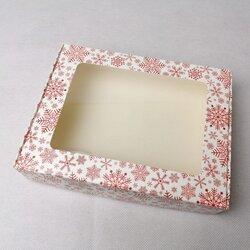 Коробка для печива, пряників з віконцем 192х148х40 мм Сніжинка червона