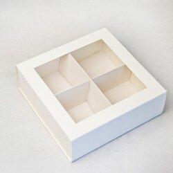 Універсальна коробка Біла з вікном 160х160х55 мм для печива, зефіру, цукерок, макаронс та іншого, тип пенал з ложементом