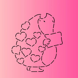 Трафарет + вирубка Їжачок романтика