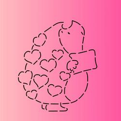 Трафарет + вырубка Ежик романтика