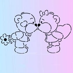 Трафарет + вирубка Ведмедики-поцілунок