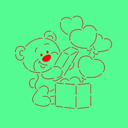Трафарет + вирубка Мишка з коробкою сердець