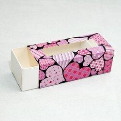 Коробка для Макаронс Сердечки любовь розовые 141х59х49