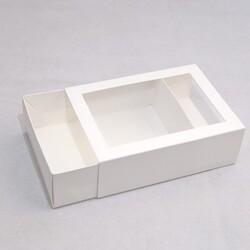 Коробка для макаронс 115х155х50 Біла з вікном (на 12 шт)